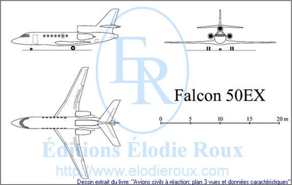 Copyright: Elodie Roux/Falcon50EX 3-view drawing/plan 3 vues