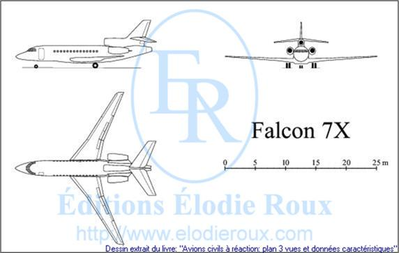 Copyright: Elodie Roux/Falcon7X 3-view drawing/plan 3 vues