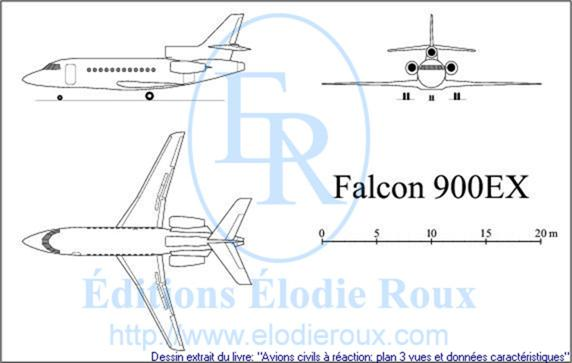 Copyright: Elodie Roux/Falcon900EX 3-view drawing/plan 3 vues