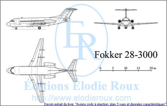 Copyright: Elodie Roux/Fokker28-3000 3-view drawing/plan 3 vues