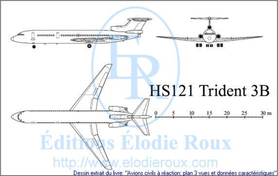 Copyright: Elodie Roux/HS121Trident3B 3-view drawing/plan 3 vues