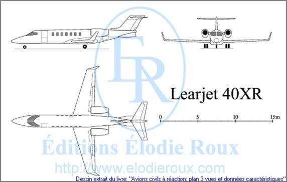 Copyright: Elodie Roux/Learjet40XR 3-view drawing/plan 3 vues