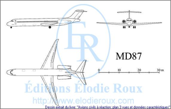 Copyright: Elodie Roux/MD87 3-view drawing/plan 3 vues
