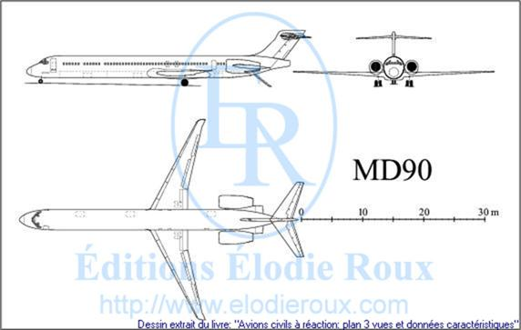 Copyright: Elodie Roux/MD90 3-view drawing/plan 3 vues