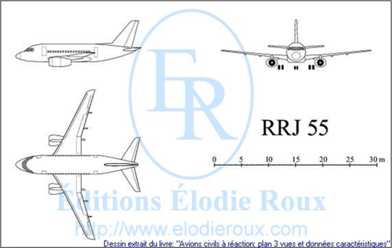 Copyright: Elodie Roux/RRJ55 3-view drawing/plan 3 vues