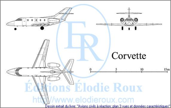 Copyright: Elodie Roux/SN601Corvette 3-view drawing/plan 3 vues