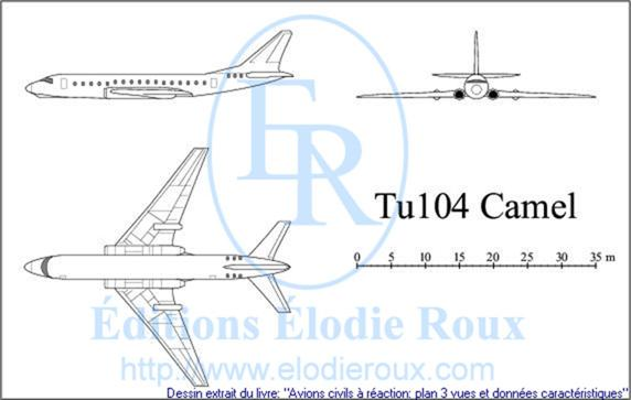 Copyright: Elodie Roux/Tu104 3-view drawing/plan 3 vues