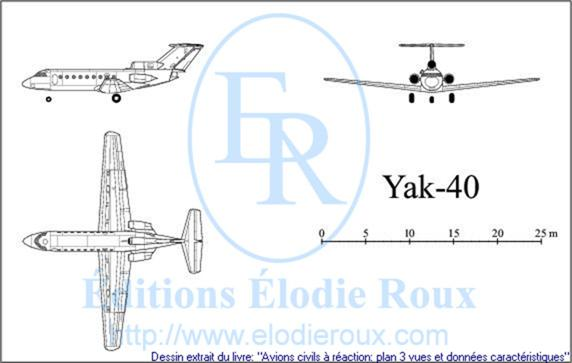 Copyright: Elodie Roux/Yak-40 3-view drawing/plan 3 vues