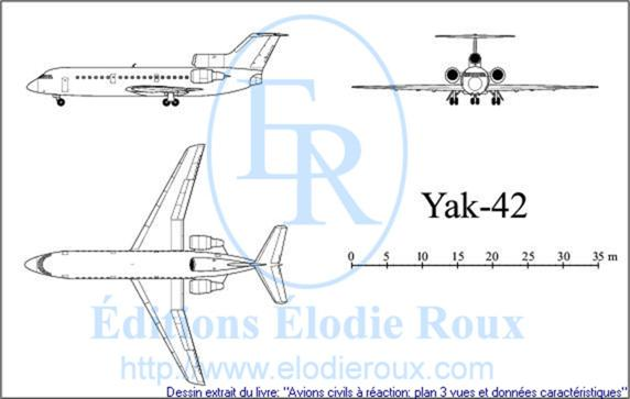 Copyright: Elodie Roux/Yak-42 3-view drawing/plan 3 vues