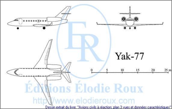 Copyright: Elodie Roux/Yak-77 3-view drawing/plan 3 vues